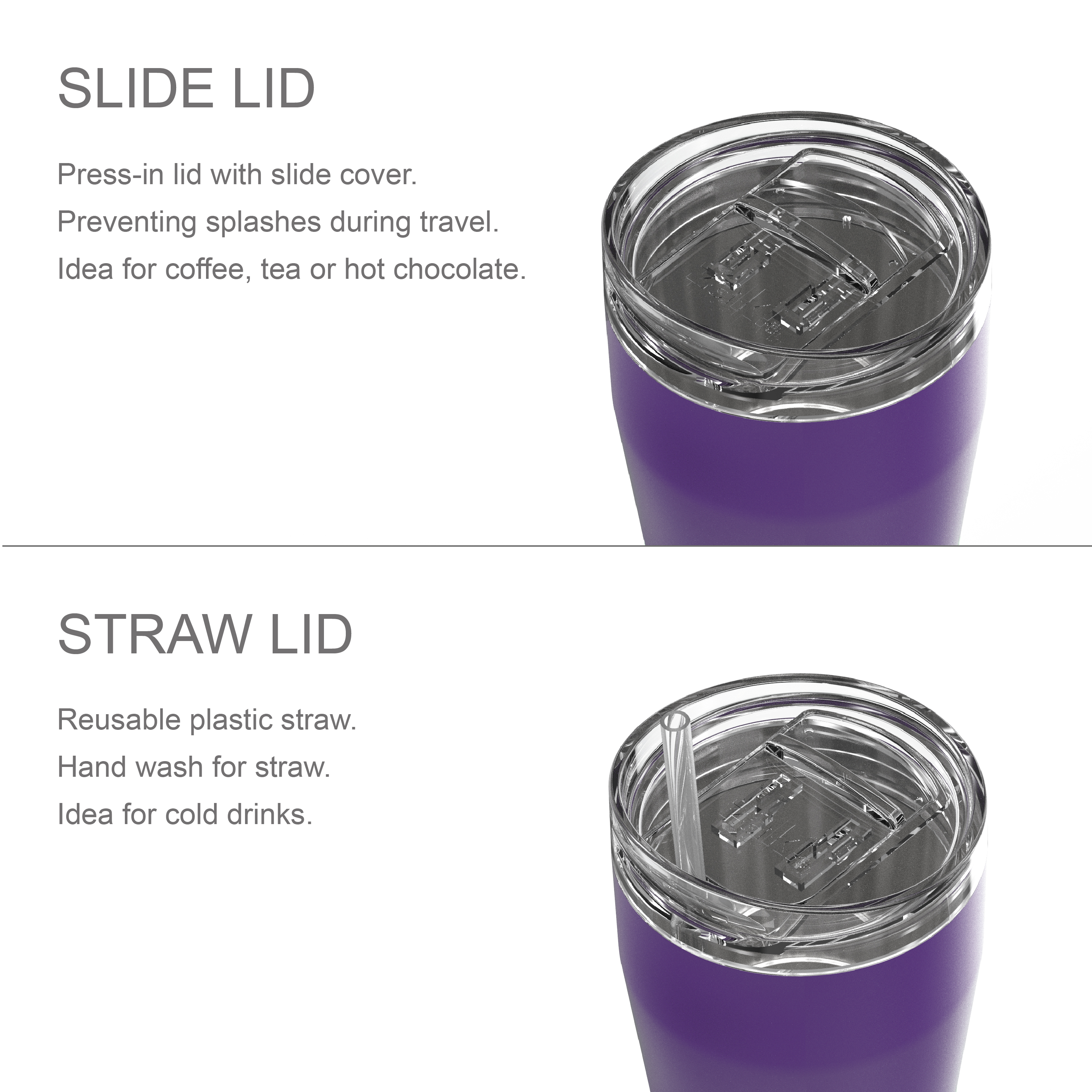 Lynden 28 ounce Stainless Steel Vacuum Insulated Tumbler with Straw, Viola slideshow image 7