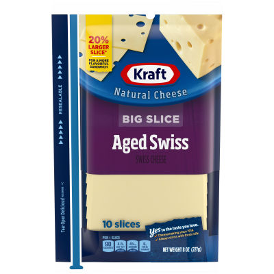 Kraft Big Slice Aged Swiss Natural Cheese Slices 8 oz Film Wrapped