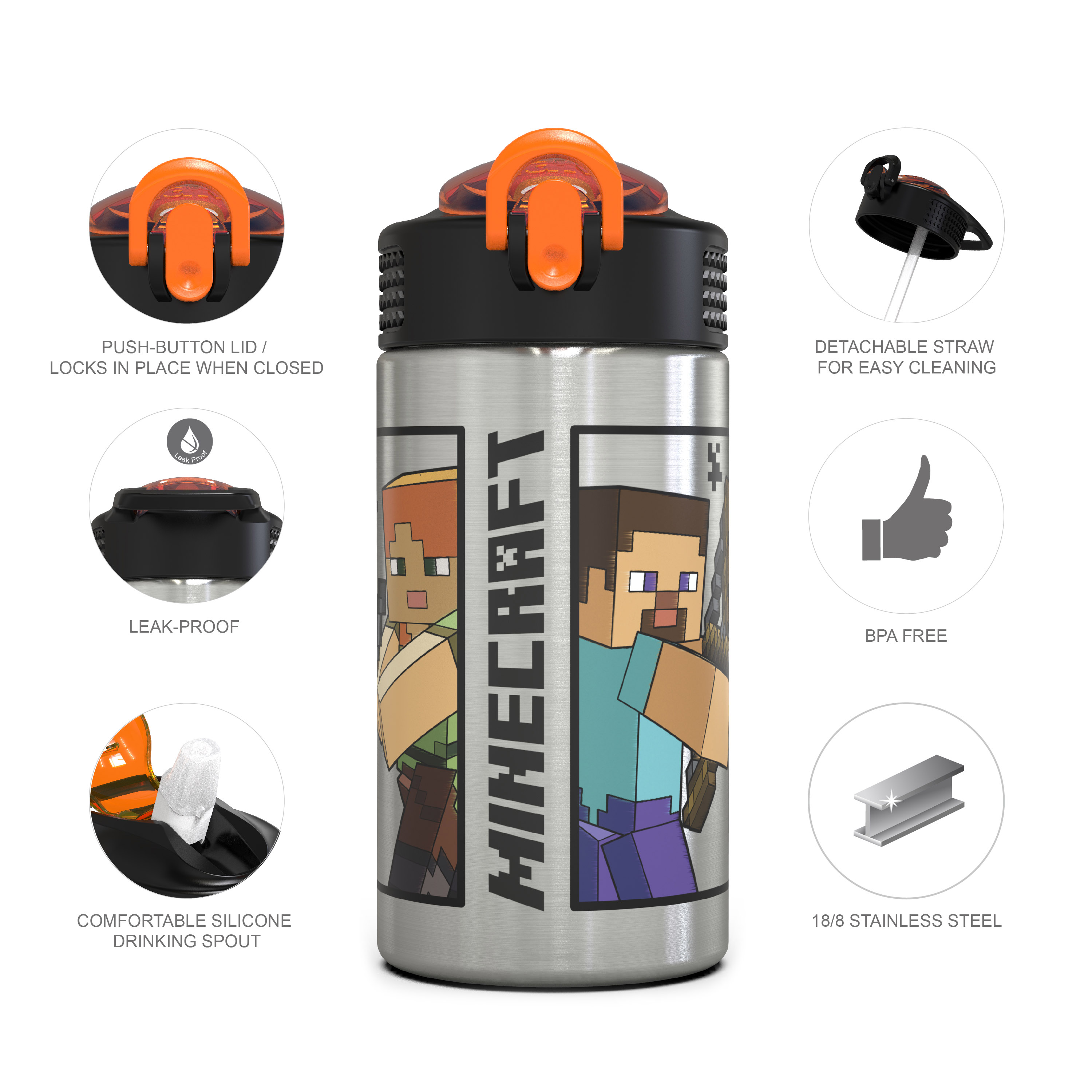 Minecraft 15.5 ounce Water Bottle, Steve and Alex slideshow image 13