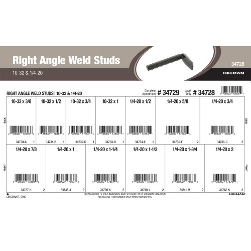 Right Angle Weld Studs Assortment (#10-32 & 1/4