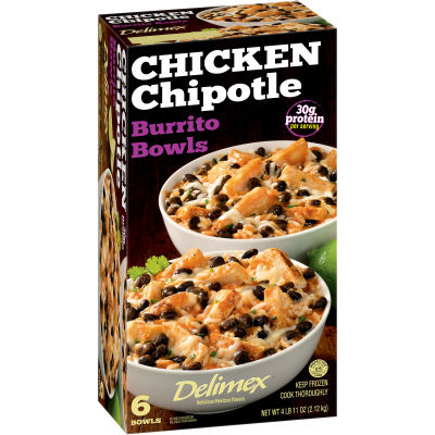 Delimex Chicken Chipotle Burrito Bowls 6 ct Box
