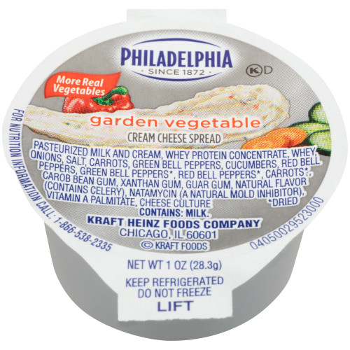 PHILADELPHIA Garden Vegetable Cream Cheese Spread, 1 oz. Cup (Pack of 100)