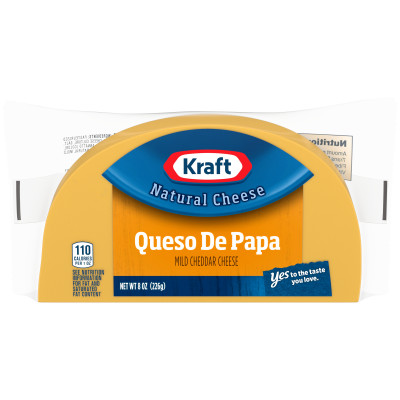Kraft Queso de Papa Mild Cheddar Cheese Brick 8 oz Wrapper