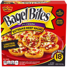 Bagel Bites Extreme Beef Nacho Mini Bagels Frozen Pizza Snacks, 14 oz Box