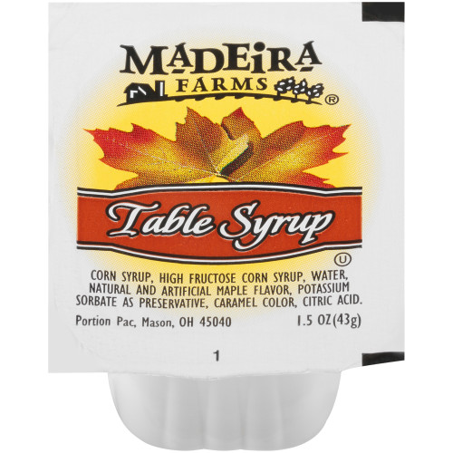 MADEIRA FARMS Single Serve Table Syrup, 1.5 oz. Cups (Pack of 100)