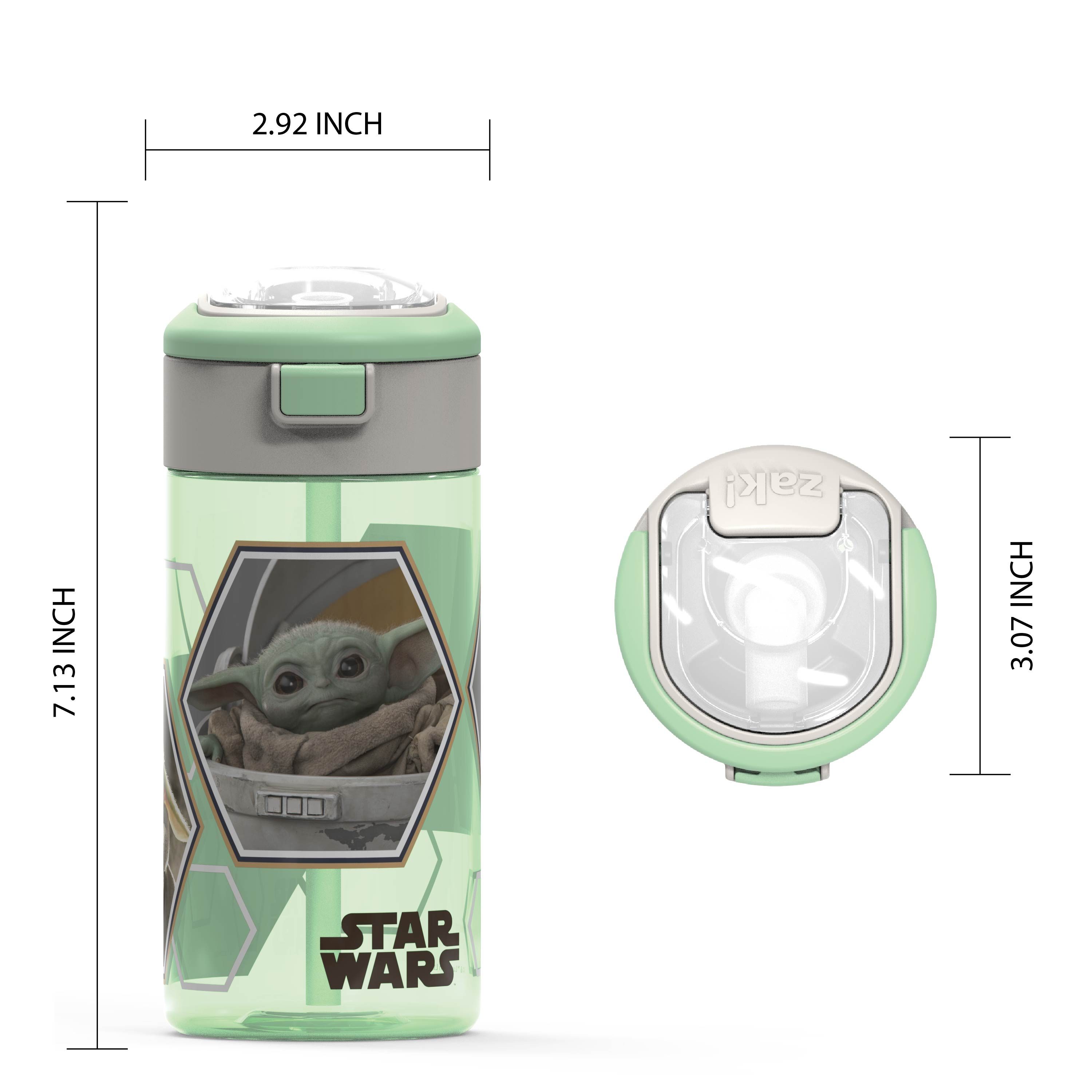 Star Wars: The Mandalorian 18 ounce Reusable Water Bottle with Straw, The Mandalorian slideshow image 5