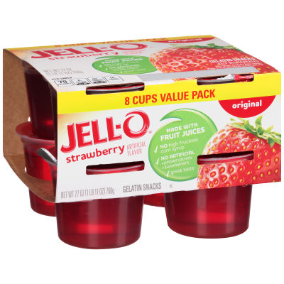 Jell-O Ready to Eat Strawberry Gelatin Snacks, 27 oz Sleeve (8 Cups)