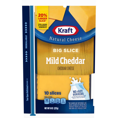 Kraft Big Slice Mild Cheddar Natural Cheese Slices 10 slices - 8 oz Wrapper