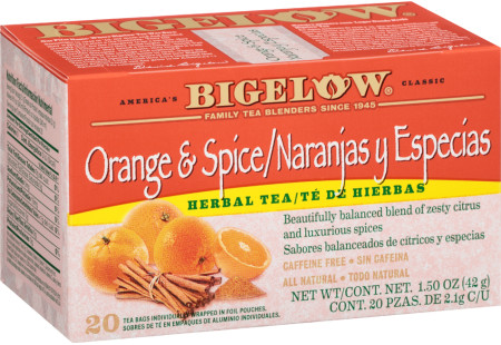 Te de Naranjay y Especias de Hierbas - Caffeine Free - Case of 6 boxes- total of 120 teabags