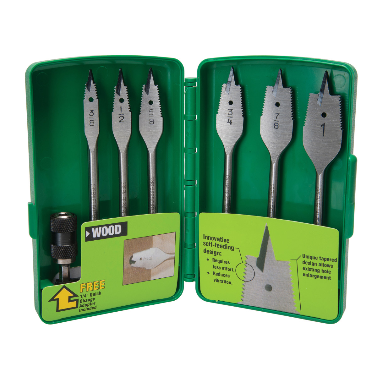 Greenlee 34AR-6 Bit Spade-Sf Corded (6Pc Kit) Pop