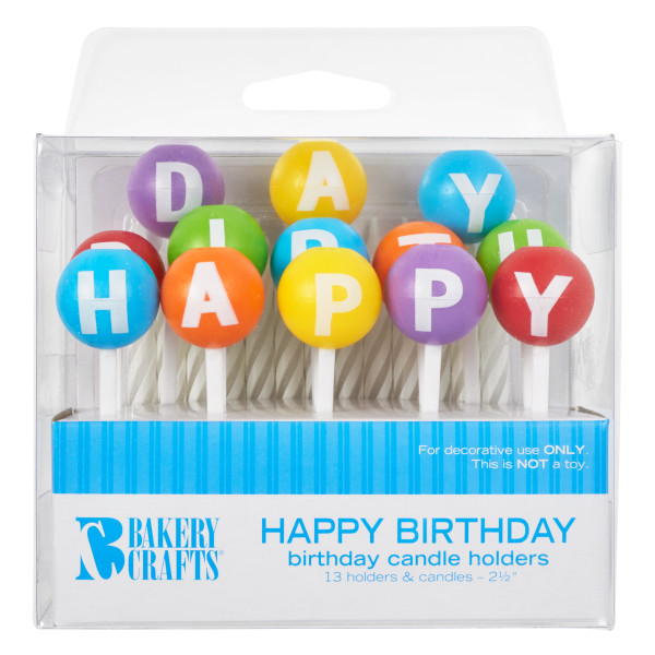3D Round Happy Birthday Letters Candle Holder
