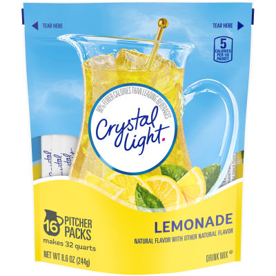 Crystal Light Lemonade Drink Mix, 8.6 oz Pouch (16 Pitcher Pack)