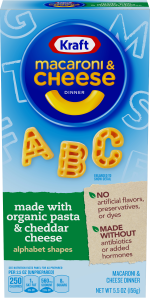 Kraft Alphabet Shapes Macaroni & Cheese Dinner made with Organic Pasta & Cheddar Cheese 5.5 oz Box image