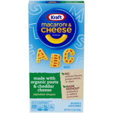 Kraft Alphabet Shapes Organic Pasta Cheddar Cheese Macaroni & Cheese Dinner 5.5 oz Box