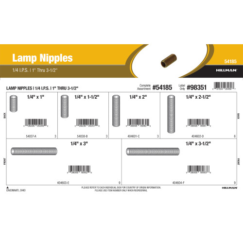1/4 IPS Lamp Nipples Assortment (1