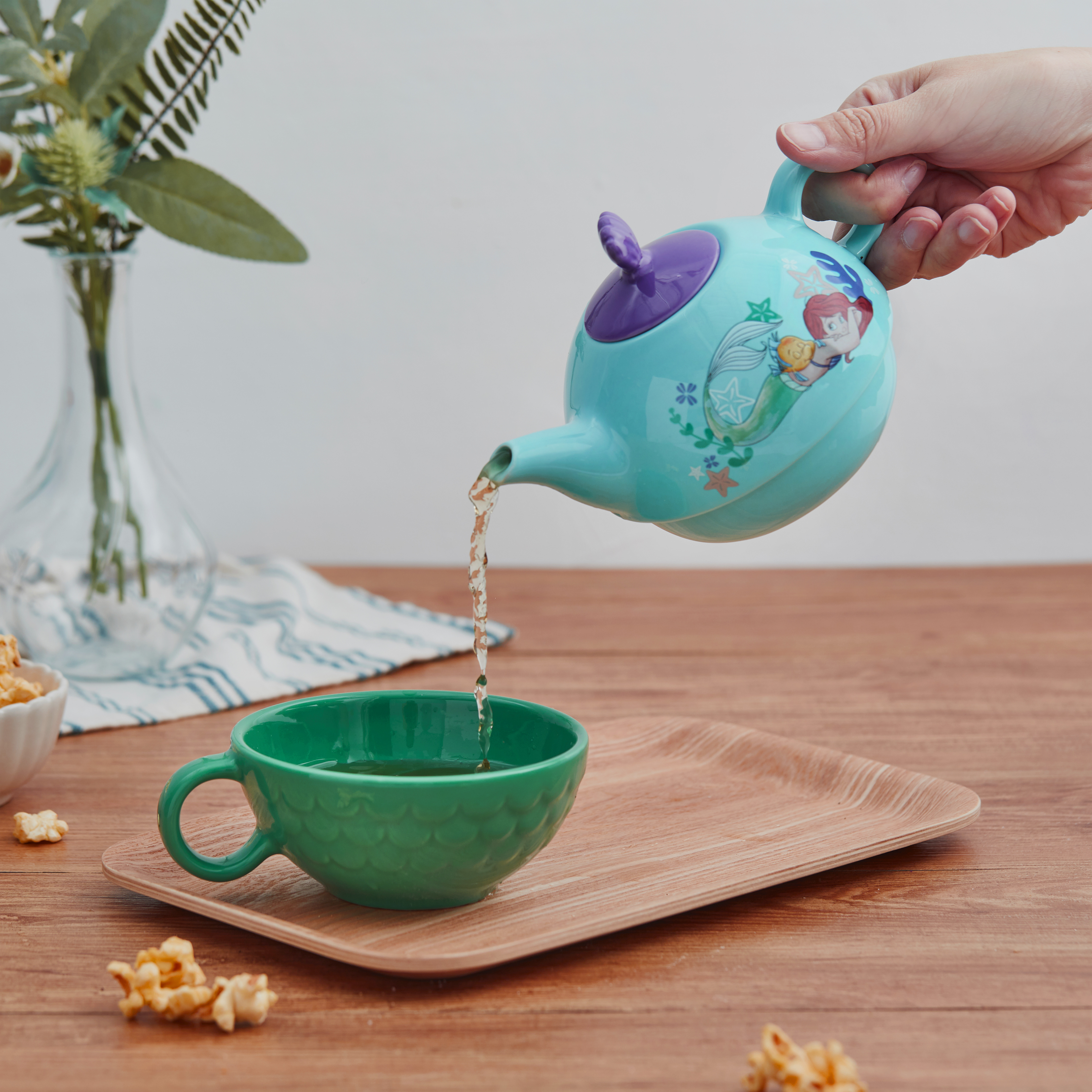 Disney The Little Mermaid Sculpted Ceramic Tea Set, Princess Ariel, 4-piece set slideshow image 5