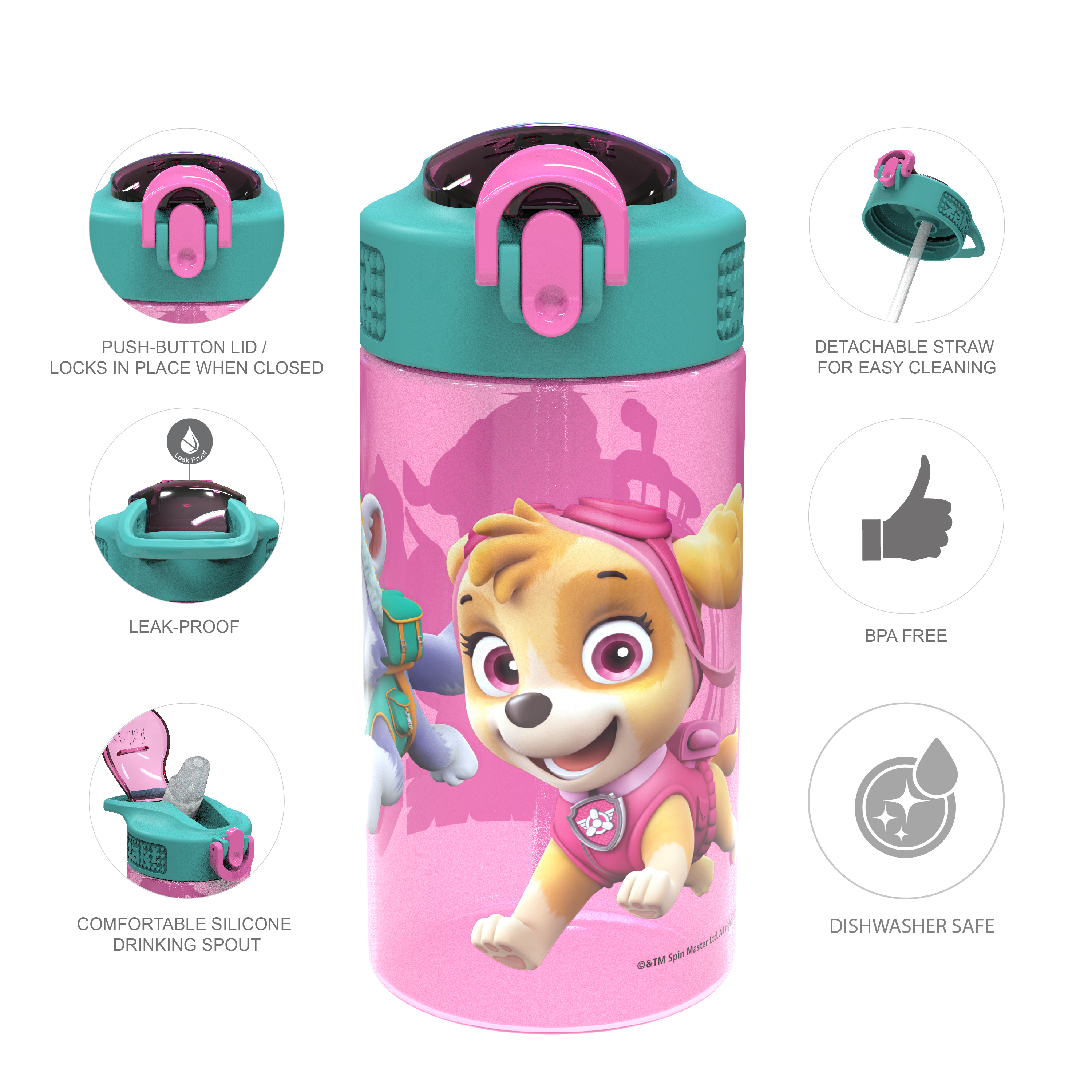 Paw Patrol 16 ounce Reusable Plastic Water Bottle with Straw, Skye, 2-piece set slideshow image 6