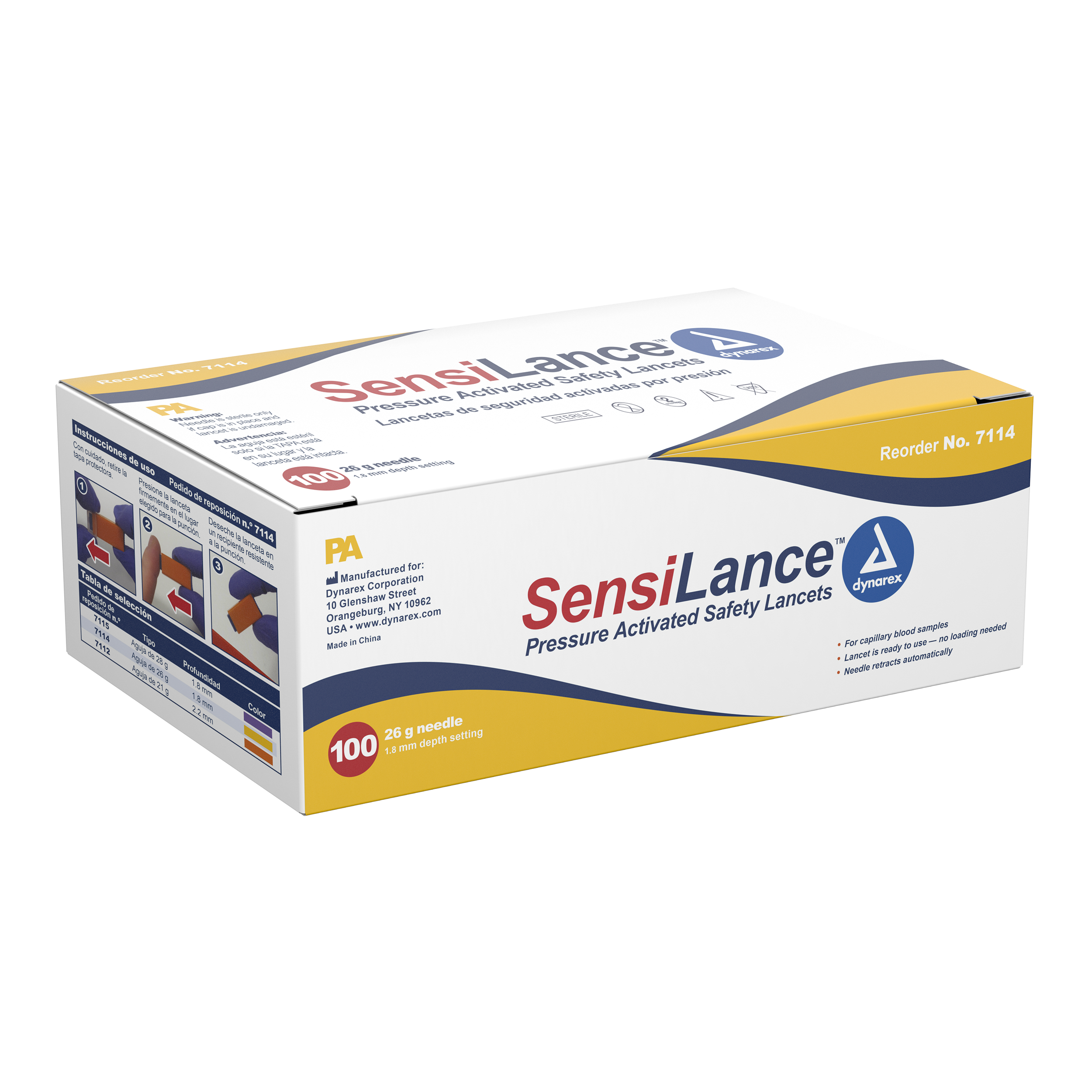 Pressure Activated Safety Lancets Sterile - 26 Gauge - 1.8 Mm Depth - 10/100/Cs