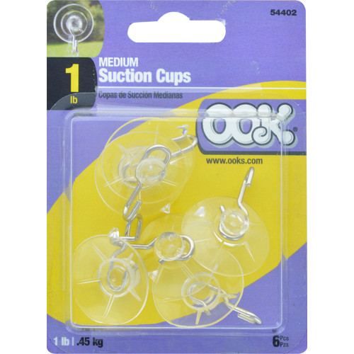 OOK Medium Clear Suction Cup Hooks