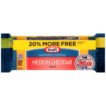 Kraf Medium Natural Cheddar Cheese Block 9.6 oz Wrapper