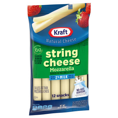 Kraft Reduced Fat Mozzarella String Cheese with 2% Milk 12 count Bag