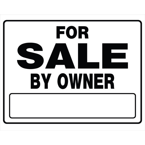 For Sale by Owner Black and White Sign, 20