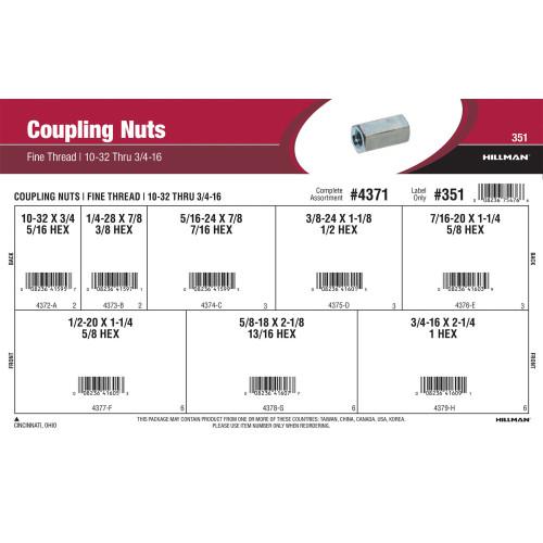 Fine-Thread Coupling Nuts Assortment (#10-32 thru 3/4
