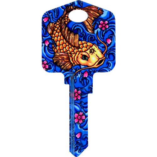 Achilles Ink Koi Fish Key Blank Kwikset 66/97 KW1/10