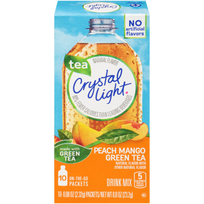 Crystal Light On the Go Sugar Free Powdered Peach Mango Green Tea 10 - 0.8 oz Packets