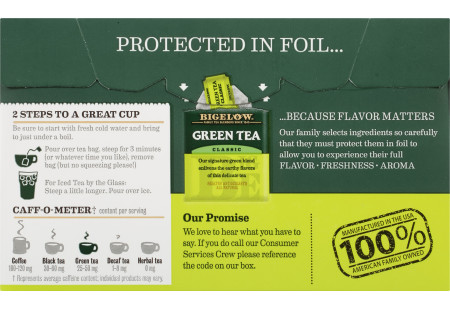 Bigelow Green Tea bag in foil overwrap