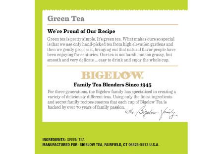 Ingredient panel of Bigelow Green Tea K-Cups Box for Keurig