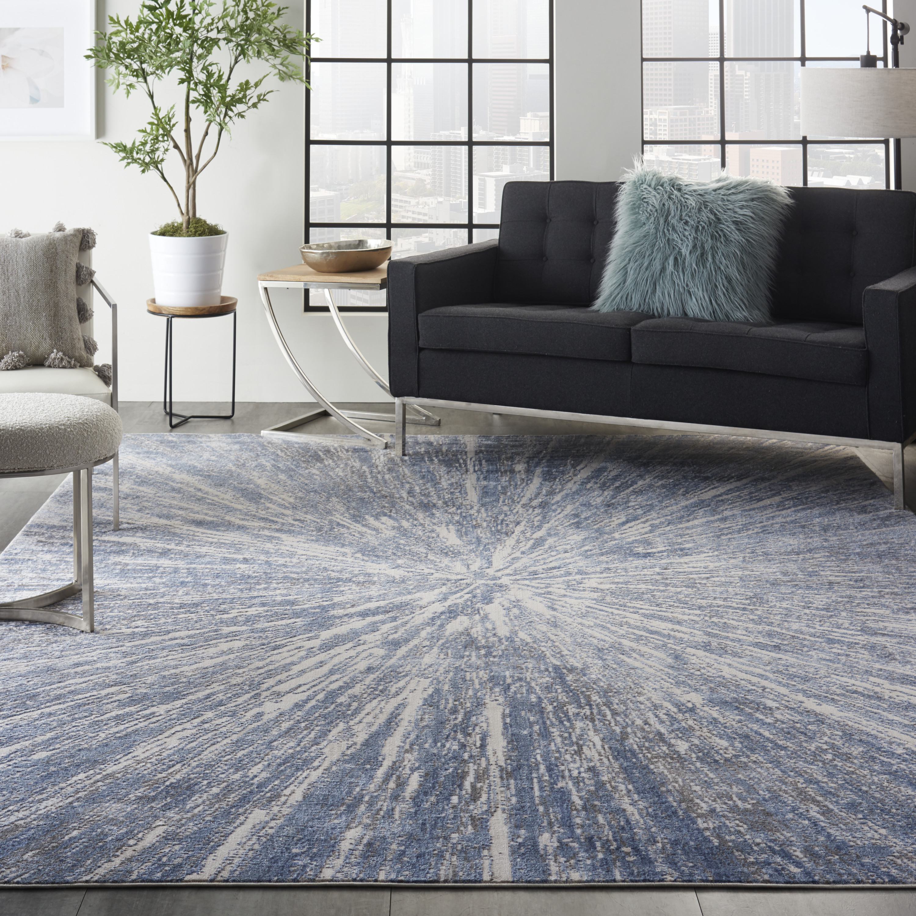 Nourison Silky Textures SLY05 Blue Grey Rug