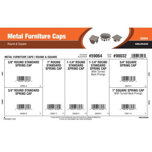 Metal Furniture Caps Assortment (Round & Square Varieties)
