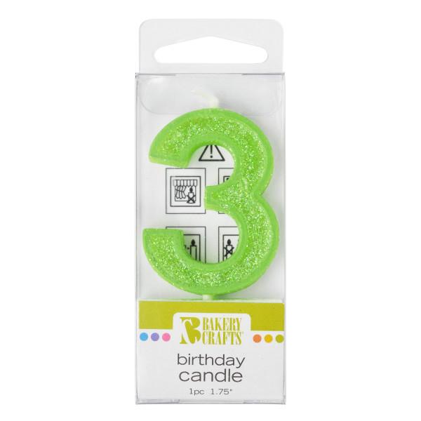 3 Mini Glitter Numeral Candles