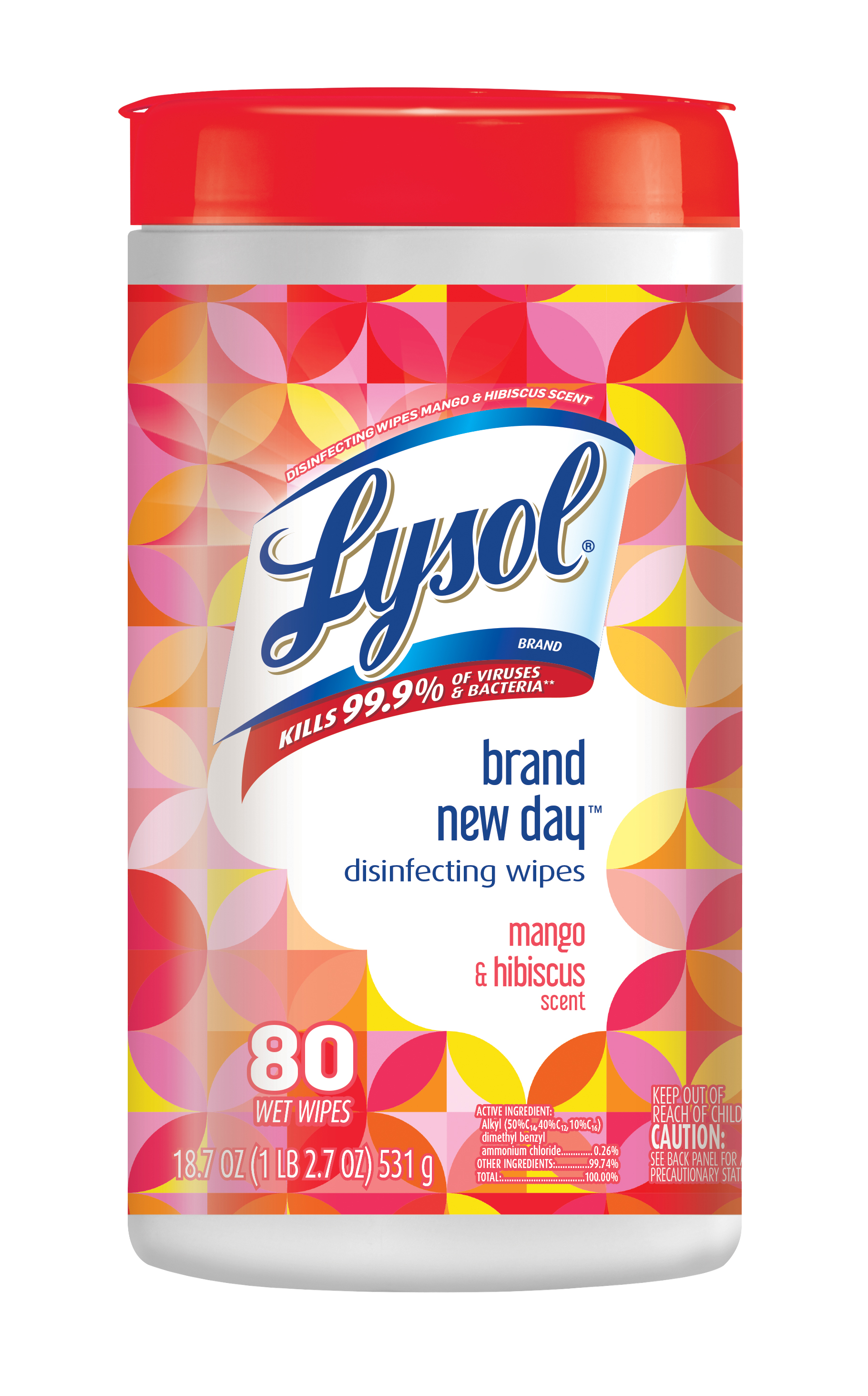 Lysol Disinfecting Wipes, Mango & Hibiscus, 80ct, Brand New Day