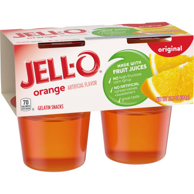 Jell-O Ready to Eat Orange Gelatin Snacks, 13.5 oz Sleeve (4 Cups)