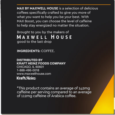 Maxwell House Coffee Boost 1.25X Caffeine Coffee K-Cup Pods 4.76 oz Box