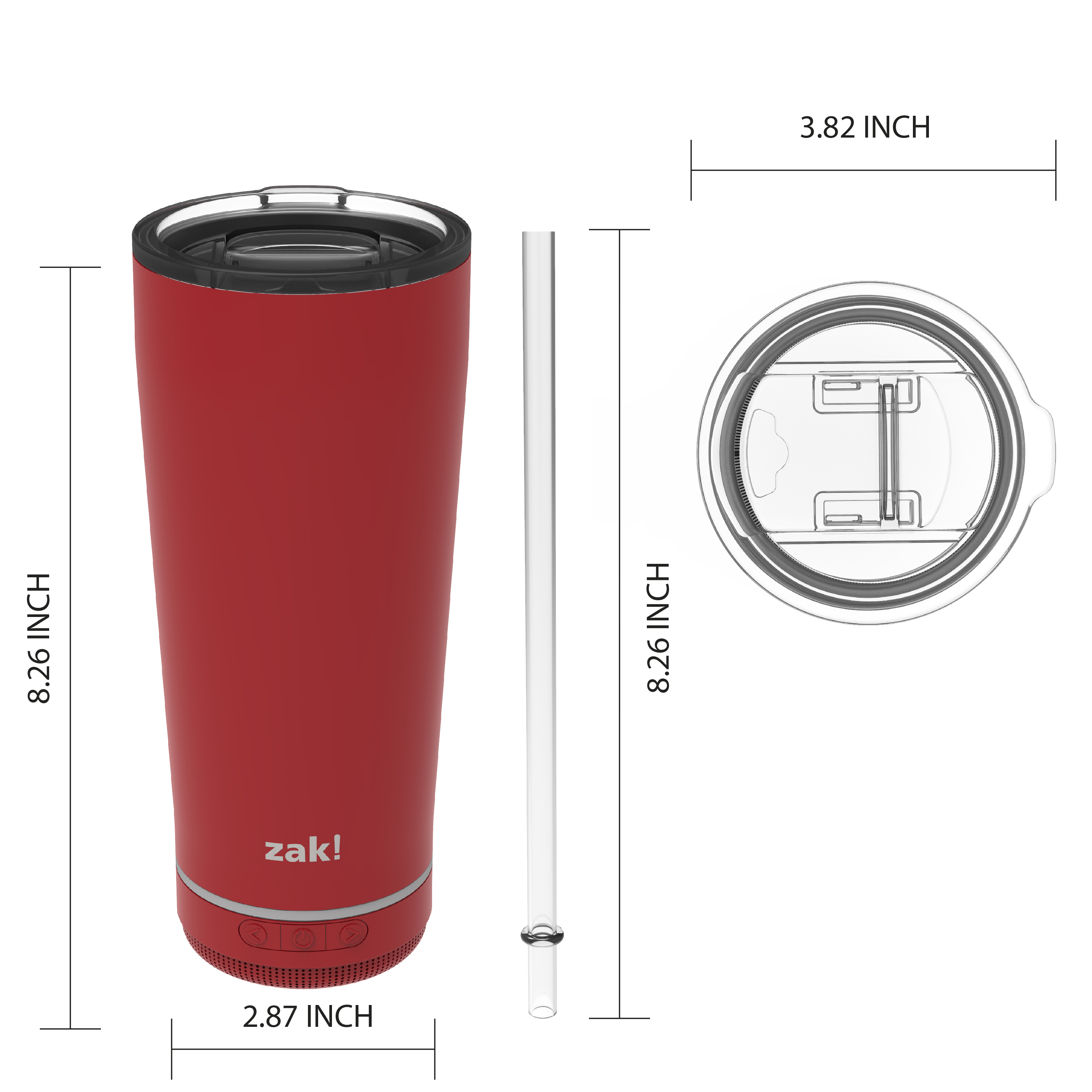 Zak Play 18 ounce Stainless Steel Tumbler with Bluetooth Speaker, Red slideshow image 2