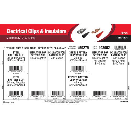 Medium Duty Electrical Clips & Insulators Assortment (20, 24 & 40 Amp)