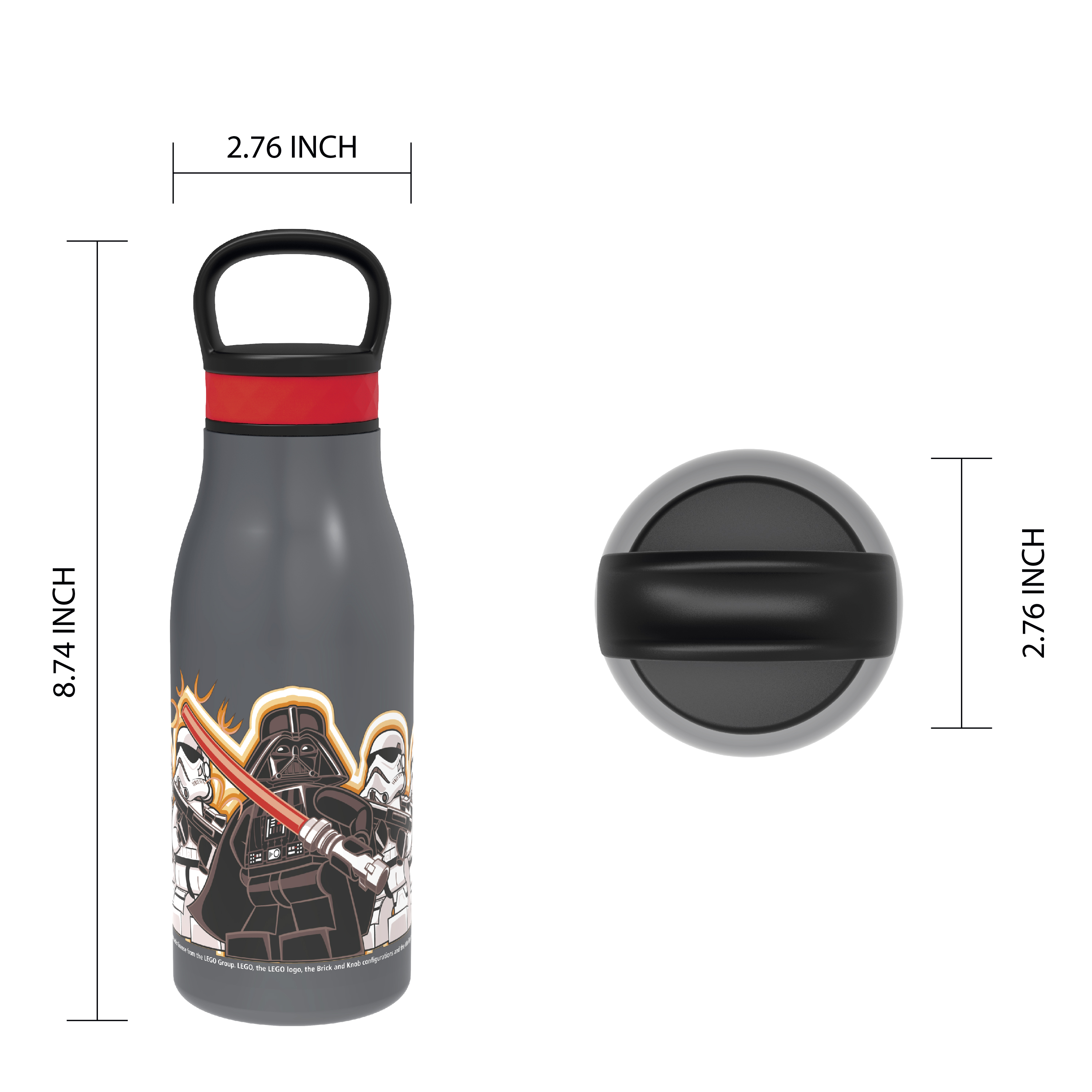 Lego Star Wars 12 ounce Stainless Steel Vacuum Insulated Water Bottle, Darth Vader slideshow image 4