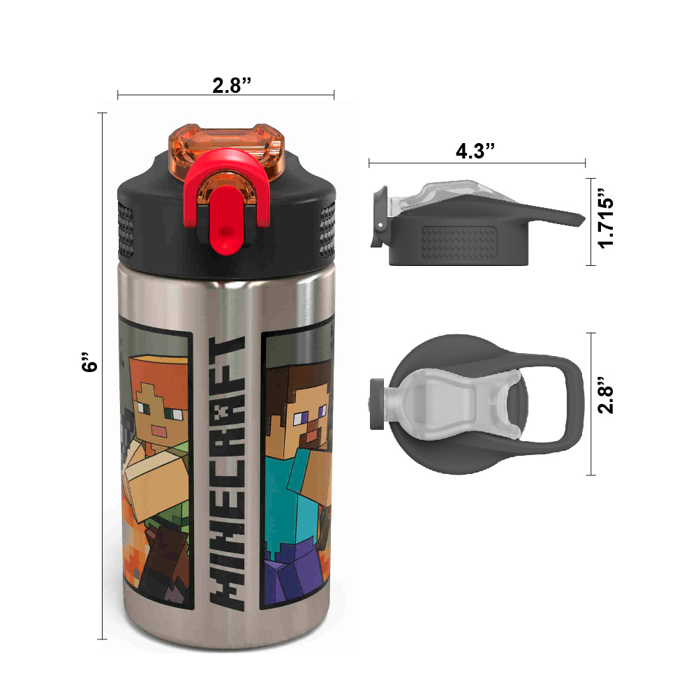Minecraft 15.5 ounce Water Bottle, Steve and Alex slideshow image 5