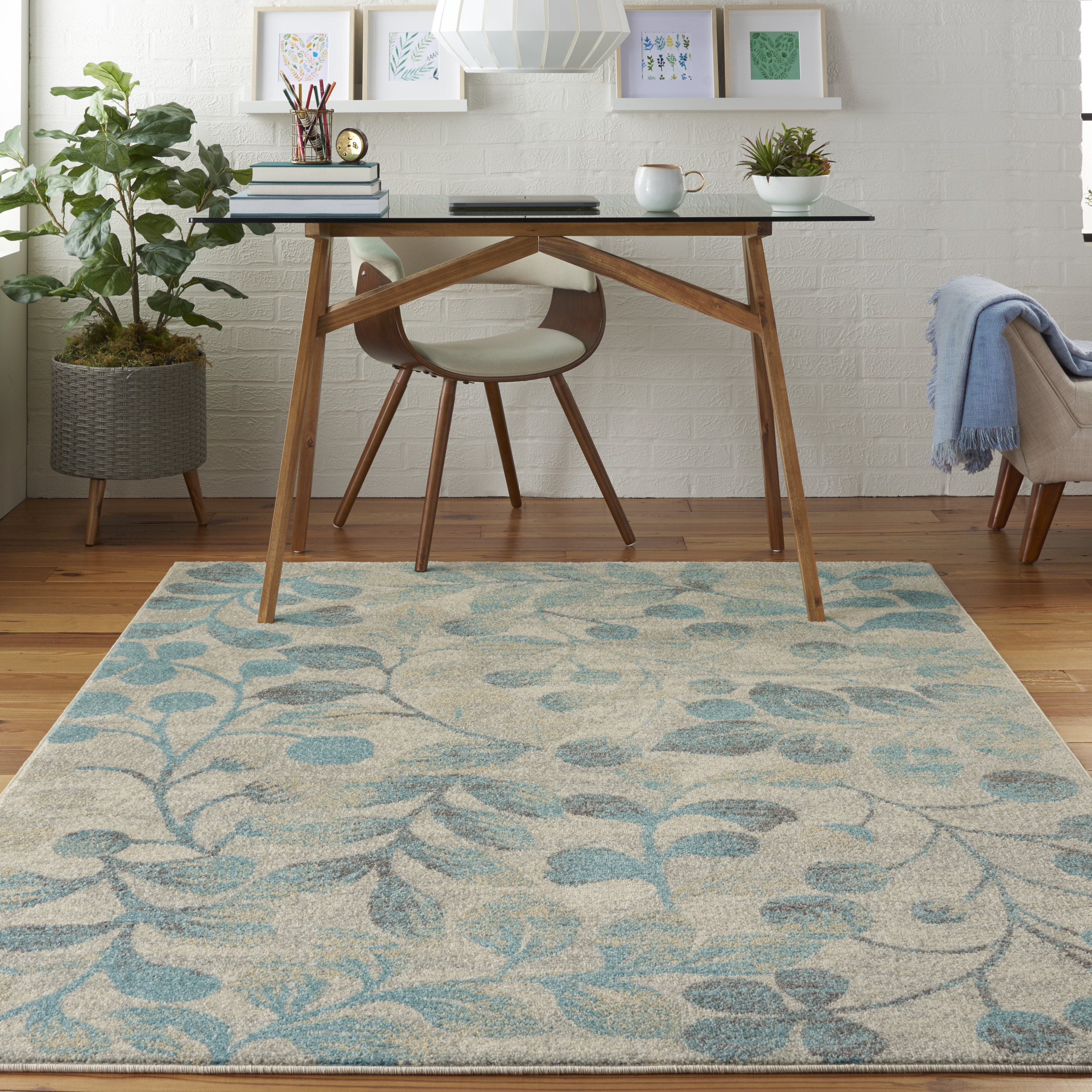 Nourison Tranquil TRA03 Ivory Turquoise Rug