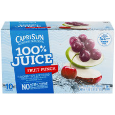 Capri Sun 100% Juice Fruit Punch Ready-to-Drink Soft Drink, 10 - 6 fl oz Pouches