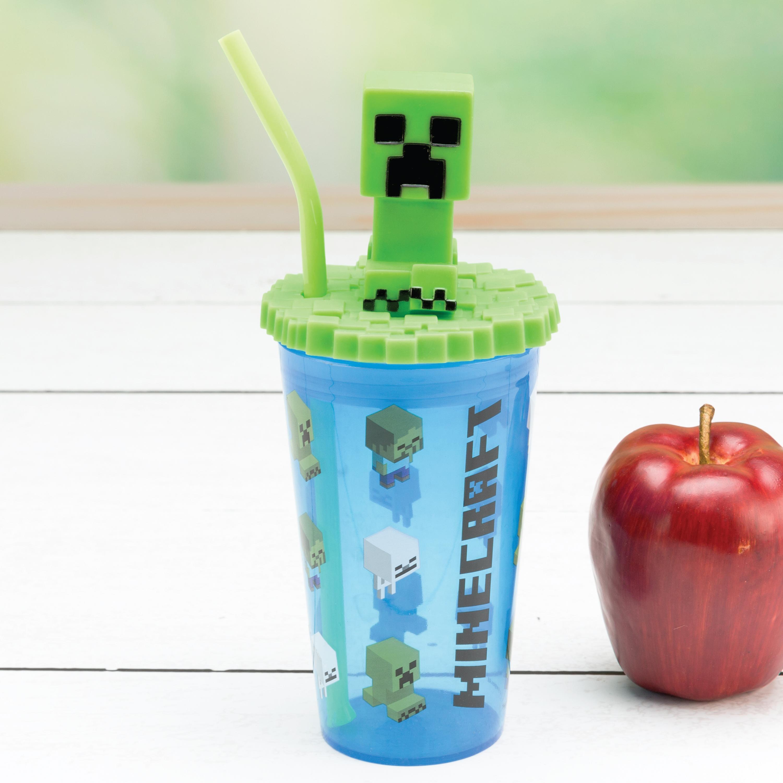 Minecraft 15 ounce Kids Tumbler, Creeper, 3-piece set slideshow image 6