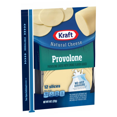 Kraft Provolone Natural Cheese Slices, 12 slices - 8 oz Wrapper