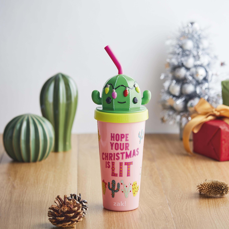 Zak Holiday 18 ounce Reusable Plastic Tumbler, Cactus slideshow image 6