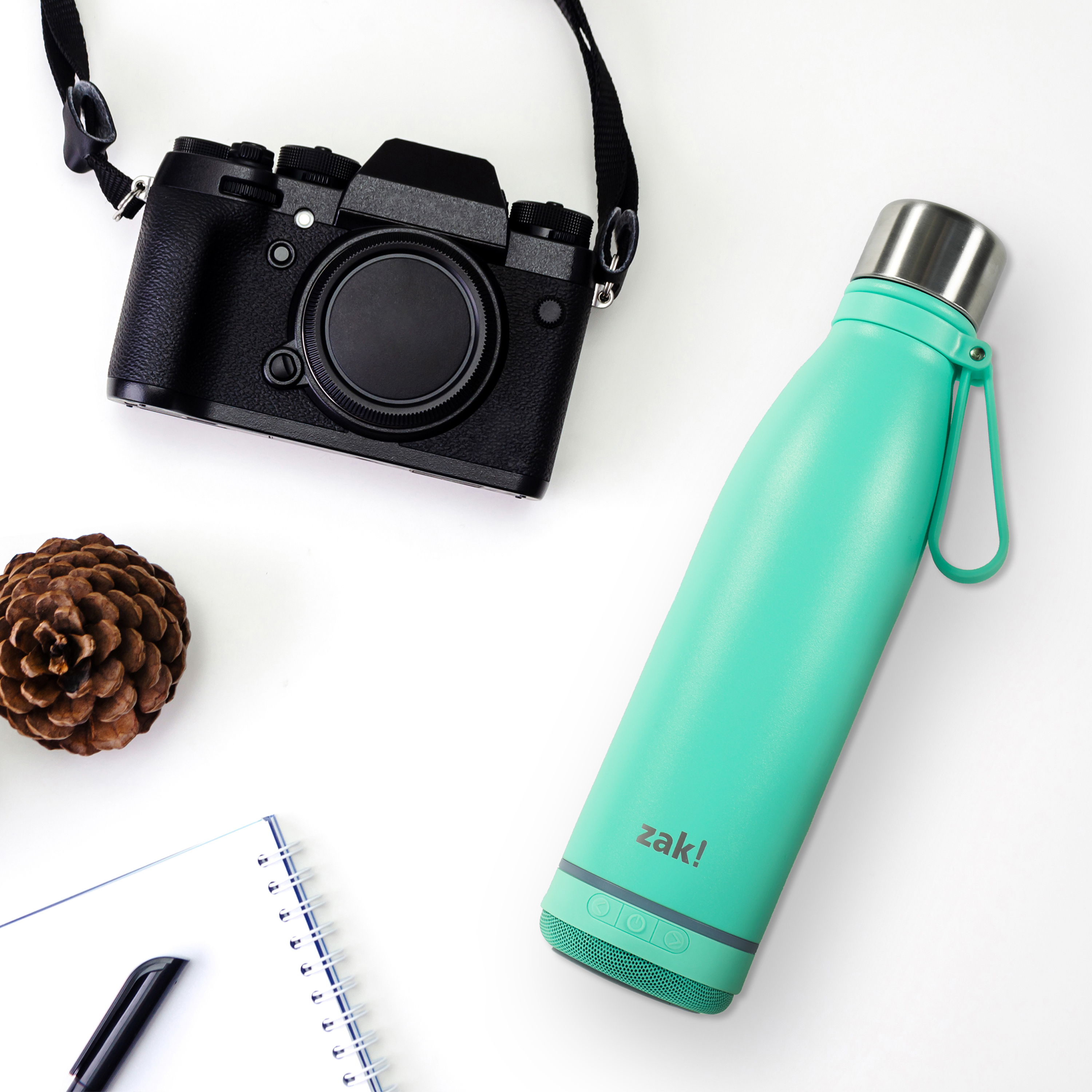 Zak Play 17.5 ounce Stainless Steel Tumbler with Bluetooth Speaker, Teal slideshow image 5
