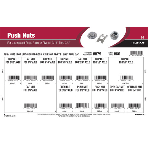 Push Nuts Assortment (For Unthreaded Rods, Axles, or Rivets sized 3/16