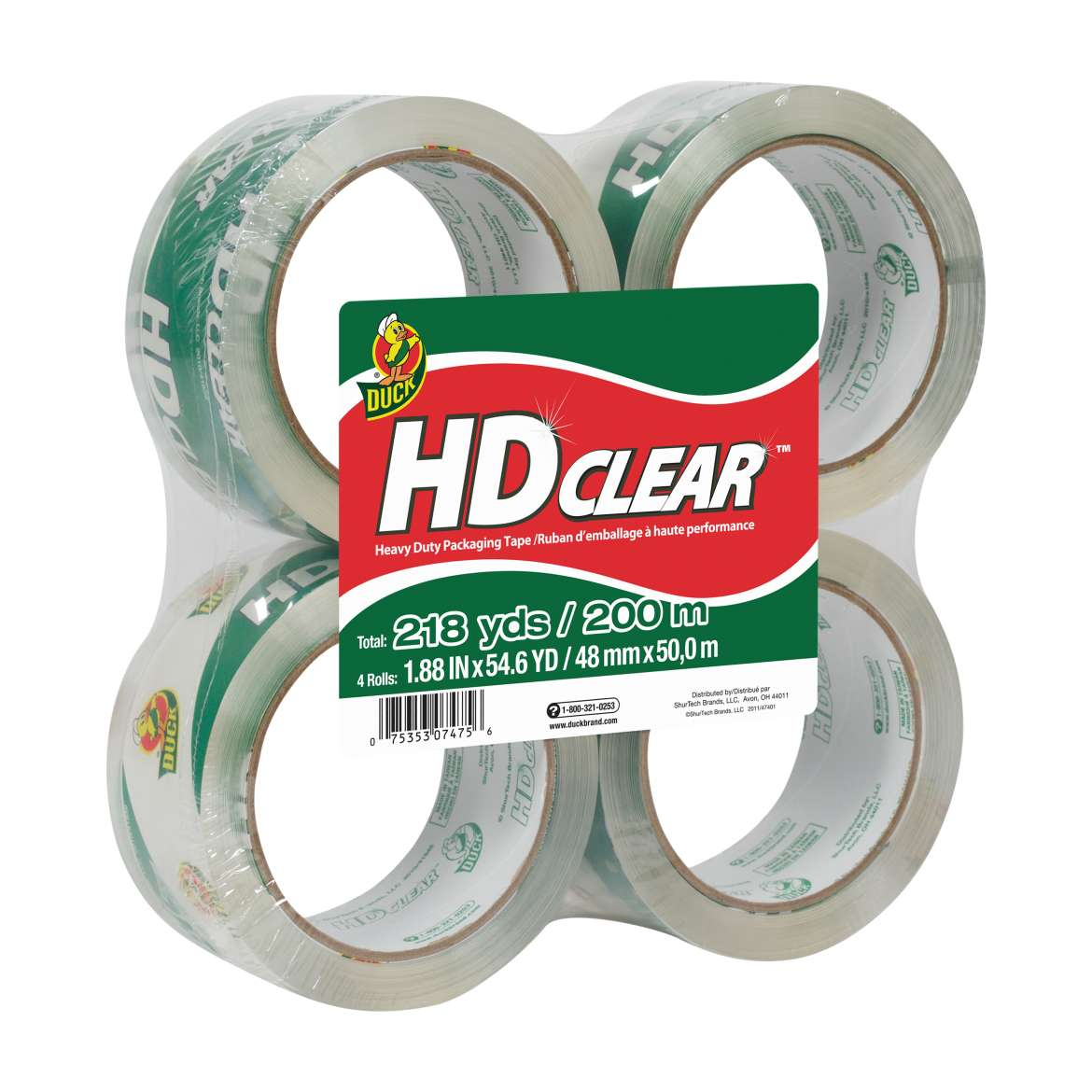 HD Clear™ Heavy Duty Packaging Tape - Clear, 4 pk, 1.88 in. x 54.6 yd. Image