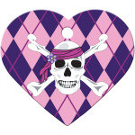 Pink Argyle with Skull Large Heart Quick-Tag